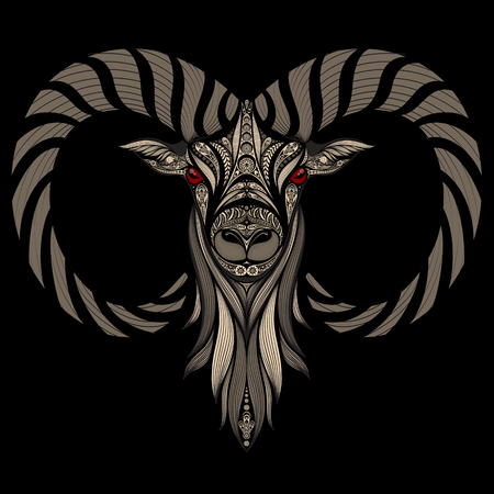 red eyes: Abstract vector sheep on a black background with red eyes