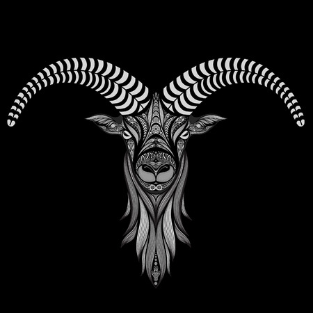 abstract animal: Vector sheep on a black background