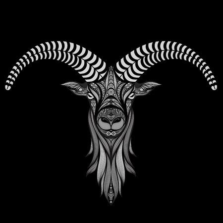 celtic art: Vector sheep on a black background