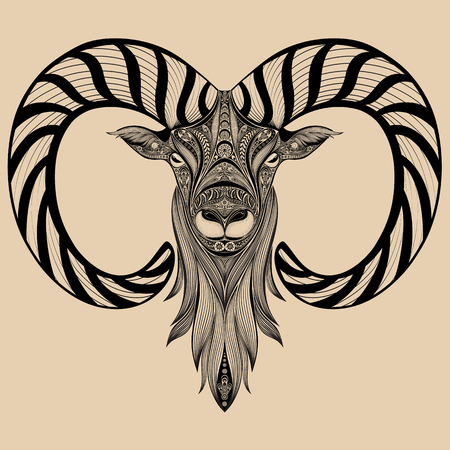 horns: Vector sheep with curved horns