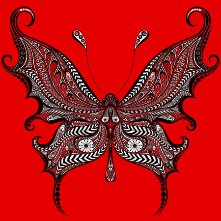 nature silhouette: Abstract vector red butterfly