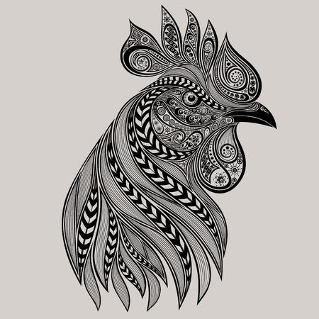 Abstract haan tattoo. Nieuw jaar 2017