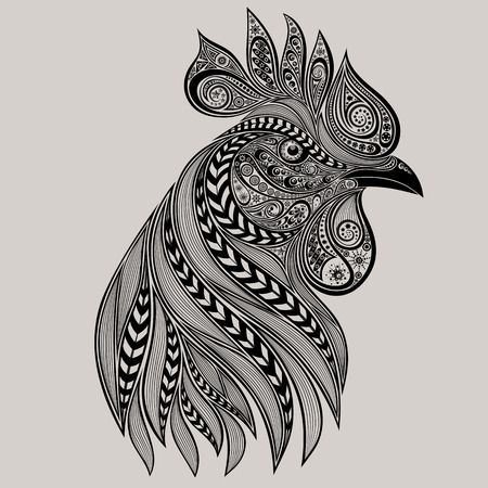 chinese zodiac: Abstract rooster tattoo. New year 2017