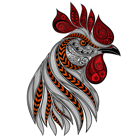Abstract rooster with red crest