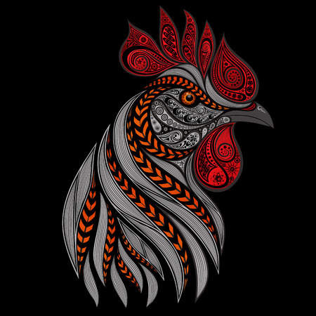 roosters: fiery rooster on a black background