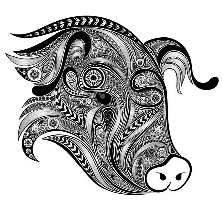 Abstract pig patterns for tattoo Illusztráció