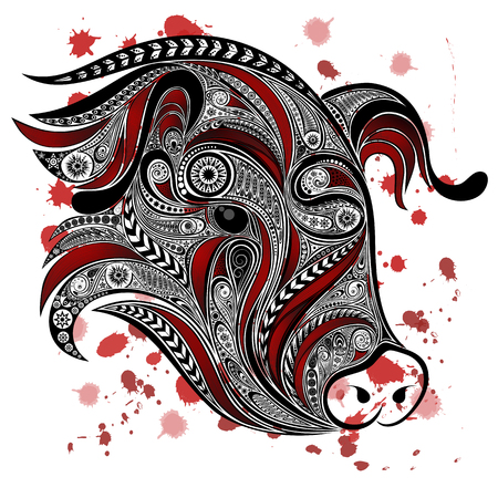 animal abuse: Abstract the pigs head with blood splatter. Stop killing animals