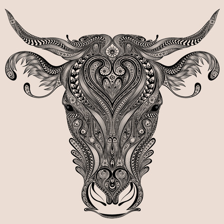 engrave: Cow head from abstract patterns