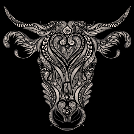 Abstract head of cow on a black background Иллюстрация