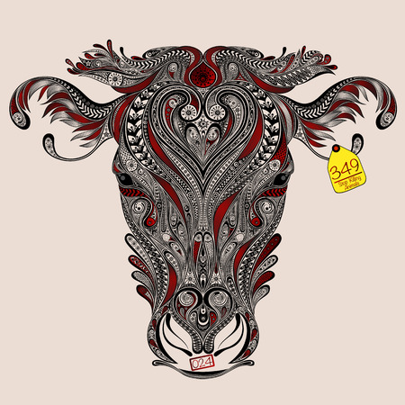 slaughter: Head of cow with abstract cuts. Love and protect animals