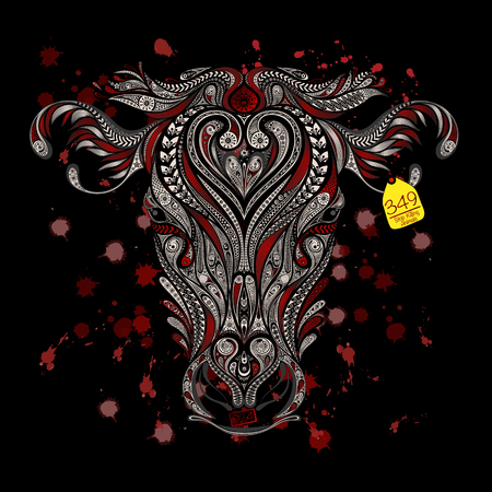 head protection: Animal protection from killing in slaughterhouses. Head of cow with blood splatters on a black background Illustration