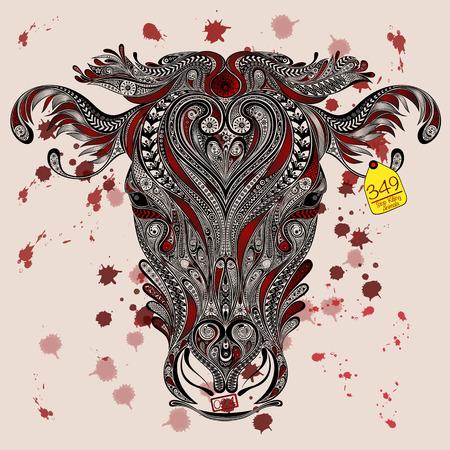 도축장에서의 동물 보호. 표식이있는 소의 머리와 피 튀김 일러스트