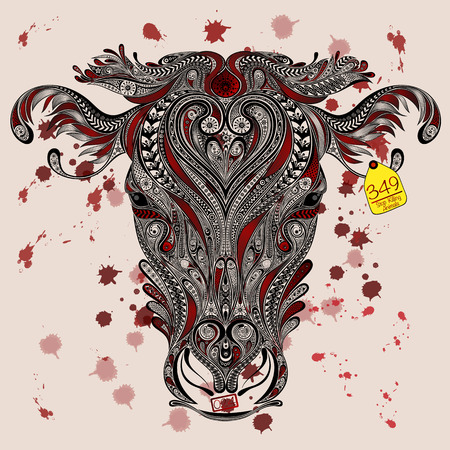 Animal protection from killing in slaughterhouses. Head of cow with the mark, and blood spatter