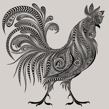 abstract zodiac: Gorgeous cock of patterns for the new year 2017 Illustration