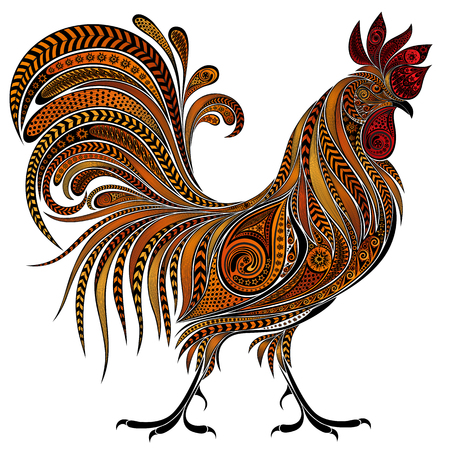 chinese zodiac: Beautiful fire cock by New year 2017