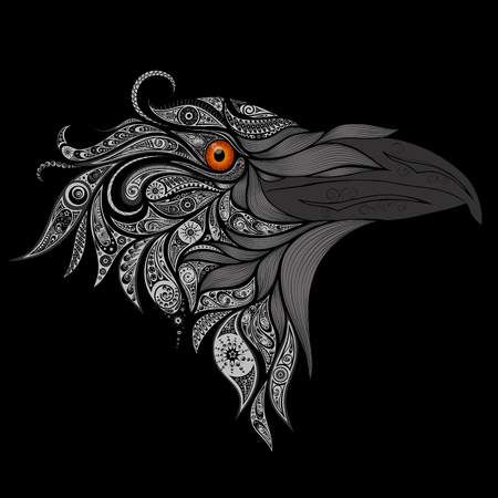 A Raven with a fiery eye on a black background