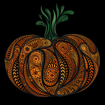 Beautiful colored pumpkin patterns Halloween on black background
