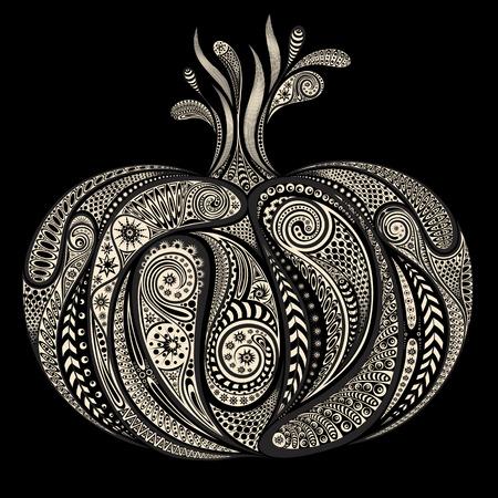 carotene: Abstract pumpkin patterns on black background for Halloween