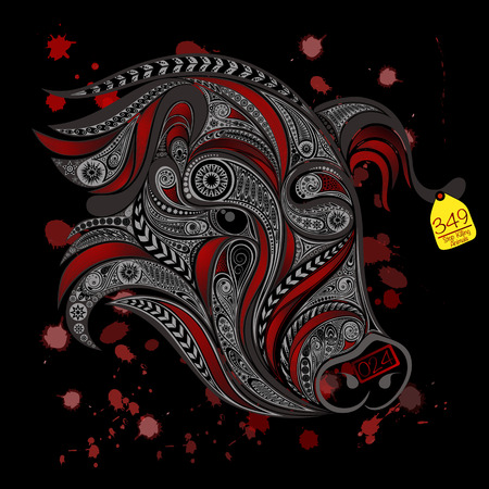 slaughter: Abstract carved pig stamp. Stop the killing of animals in slaughterhouses Illustration