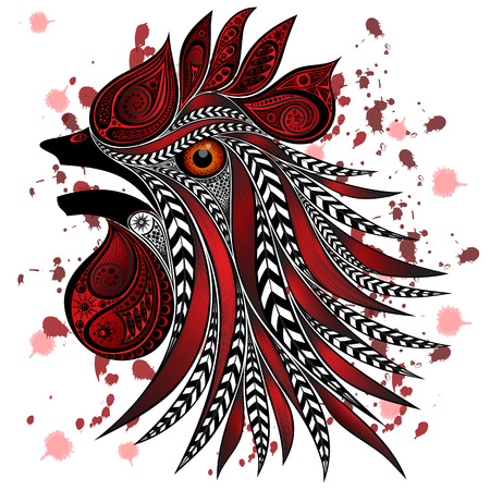 slaughter: Screaming rooster with bloody cuts and blood splatter. Protection of animals from mass killings in slaughterhouses Illustration
