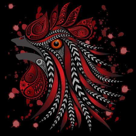 blood splatter: Screaming rooster with bloody cuts and blood splatter on a black background. Protection of animals from mass killings in slaughterhouses