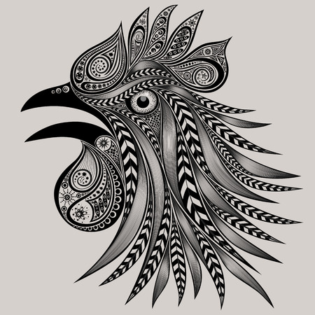 screaming: Screaming rooster with patterns. New year 2017 Illustration