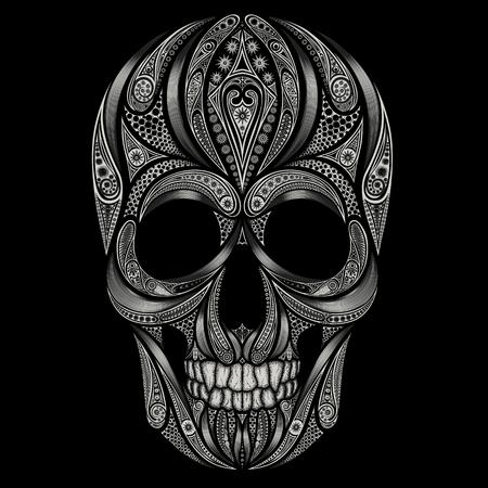 Abstracte schedel patronen op een zwarte achtergrond