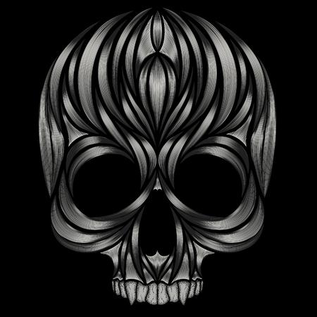Abstract skull patterns on black background Illusztráció