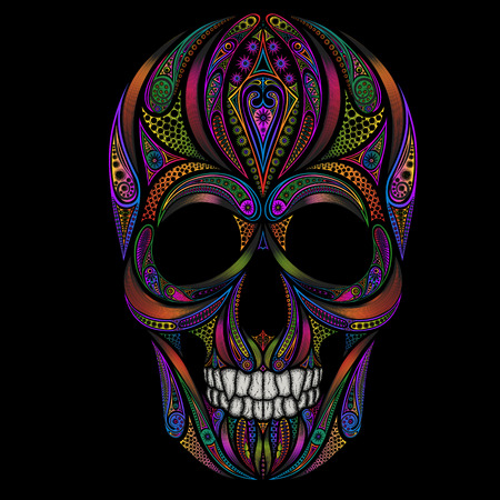Abstract funny colored human skull from various patterns