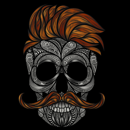 red hair: human skull with red hair and a mustache. Hipster for Halloween in 2016 Illustration