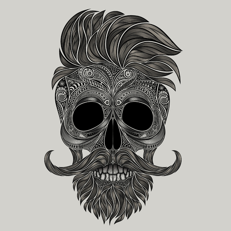 dapper: skull of hipster. Abstract silhouette of a human skull made of flowers Illustration