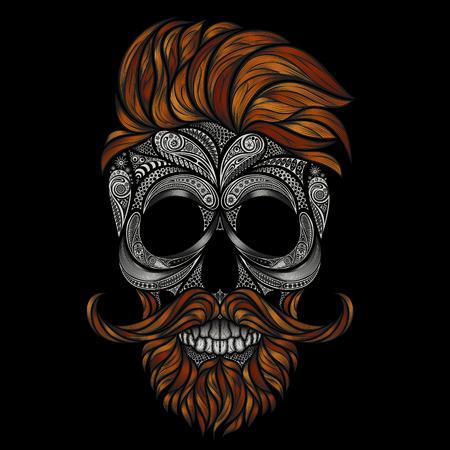 Dode rode hipster met een baard en een snor. menselijke schedel gemaakt van bloemen Vector Illustratie