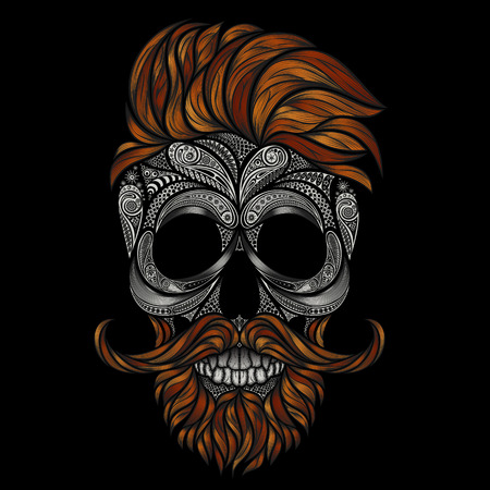 Red dead hipster with a beard and mustache. human skull made of flowers Çizim