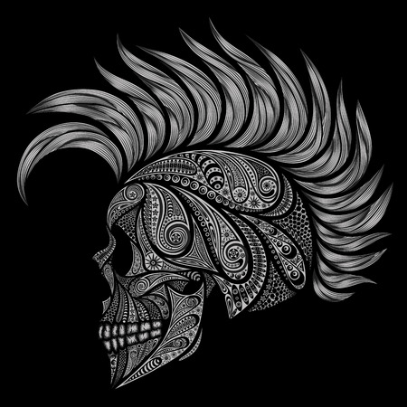 Abstract human skull with a Mohawk. Punks not dead