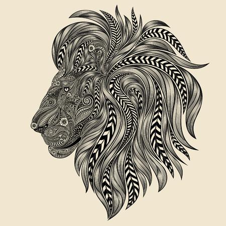 Vector lion from a variety of beautiful patterns Vektorové ilustrace