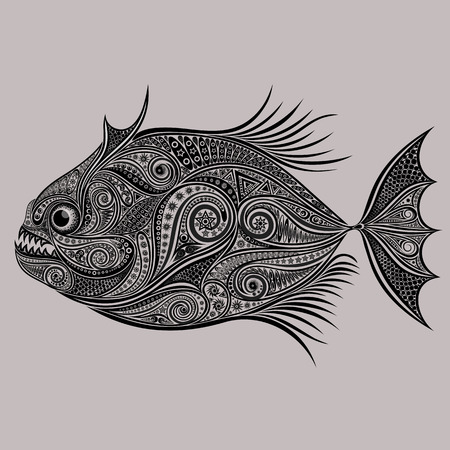 Vector drawing of piranhas from a variety of patterns Illustration