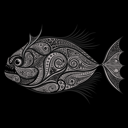 terrifying: Piranha. Vector drawing of patterns on a black background
