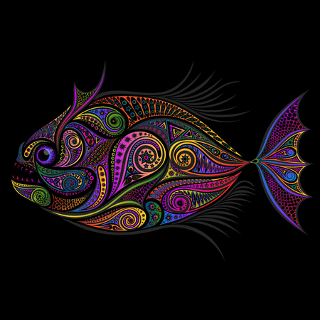 Abstract vector color piranha from patterns on a black background