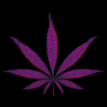 purple marijuana leaf patterns with a gradient vector