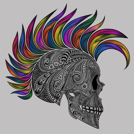mohawk: The skull of punk. Vector human skull made of flowers and colored Mohawk