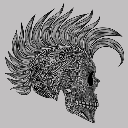 mohawk: A human skull with a Mohawk patterns