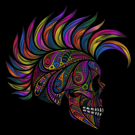 mohawk: Punk. Skull with Mohawk. Color vector skull patterns and the Mohawk. Illustration