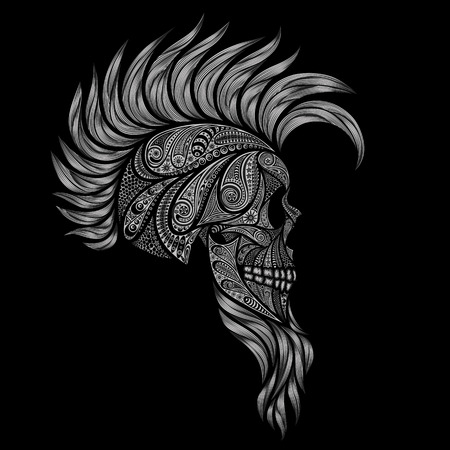 damnation: Human skull on a black background. Punk with a Mohawk and a beard of a variety of patterns