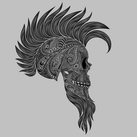 mohawk: Vector human skull made of flowers with a Mohawk and a beard