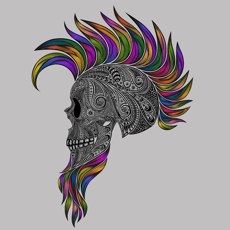 Vector human skull made of flowers with a colored Mohawk and a beard Illustration