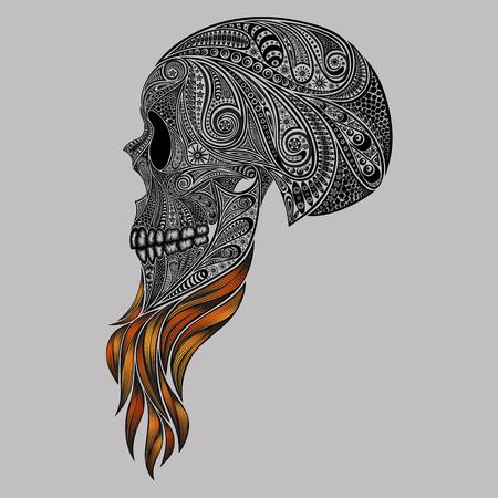 Een dode hipster. Abstract vector schedel met een rode baard patronen Vector Illustratie