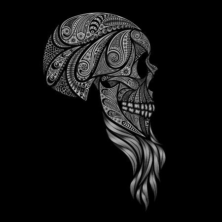 A human skull with a beard made of flowers on black background Illusztráció