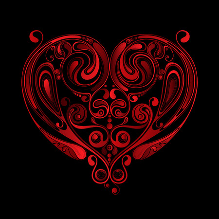 Valentine's Day. Red vector heart made of flowers on black background Illusztráció