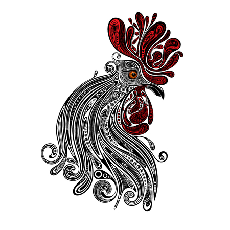 dcor: New year and Christmas 2017. Beautiful Christmas rooster with red crest