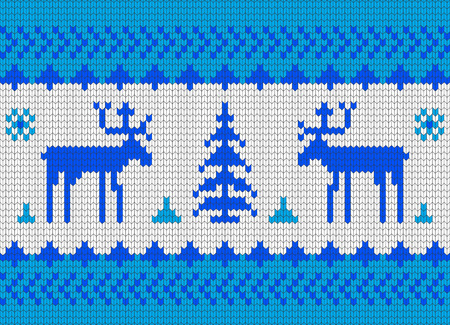 Winter knitted pattern with Christmas trees and reindeer blue
